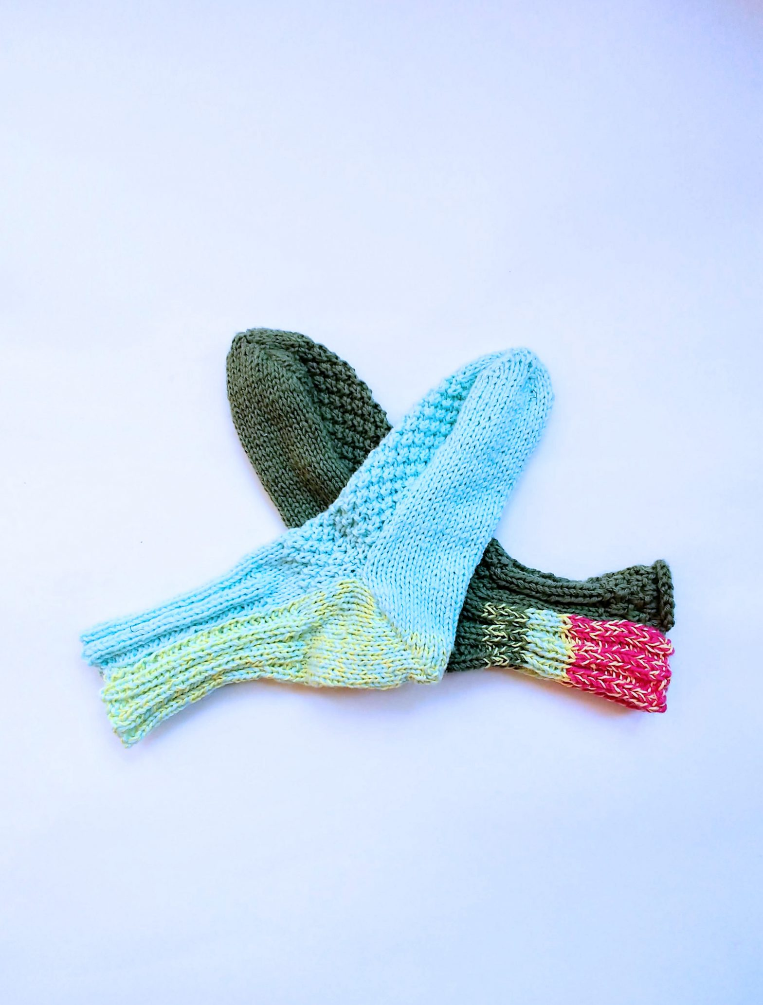 Two Knit Socks - Blue and Green