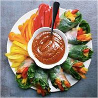 spring rolls and thai peanut sauce