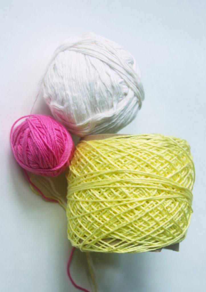 3 Balls of Yarn - Pink, Yellow, White